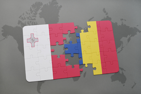 malta map: puzzle with the national flag of malta and romania on a world map background. 3D illustration