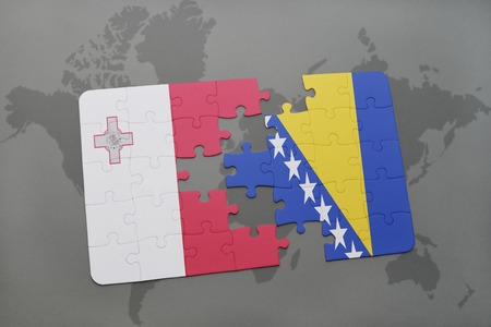 maltese map: puzzle with the national flag of malta and bosnia and herzegovina on a world map background. 3D illustration