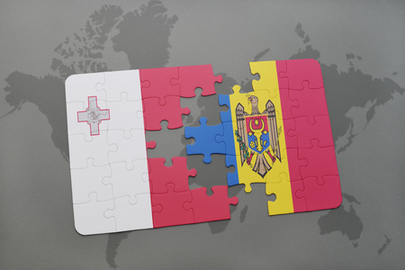 maltese map: puzzle with the national flag of malta and moldova on a world map background. 3D illustration