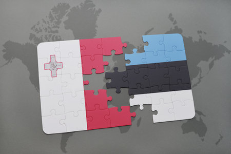 maltese map: puzzle with the national flag of malta and estonia on a world map background. 3D illustration