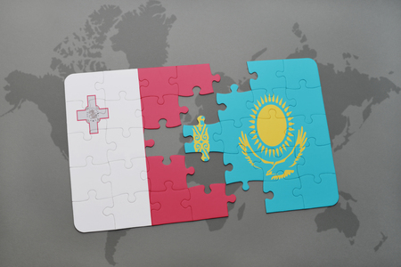 malta map: puzzle with the national flag of malta and kazakhstan on a world map background. 3D illustration Stock Photo