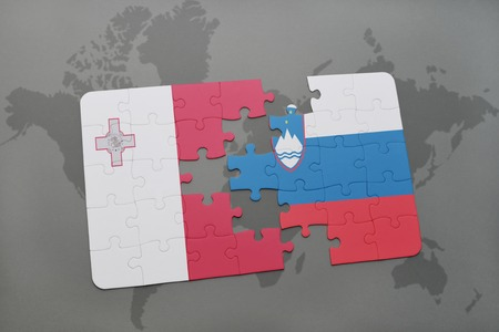 maltese map: puzzle with the national flag of malta and slovenia on a world map background. 3D illustration