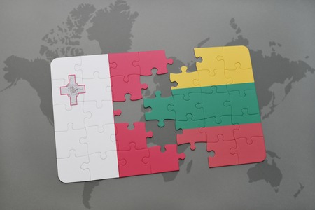 maltese map: puzzle with the national flag of malta and lithuania on a world map background. 3D illustration