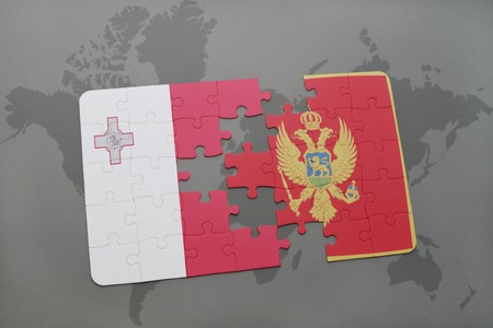 maltese map: puzzle with the national flag of malta and montenegro on a world map background. 3D illustration