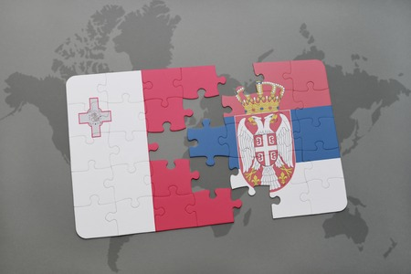 maltese map: puzzle with the national flag of malta and serbia on a world map background. 3D illustration
