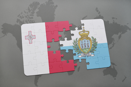 maltese map: puzzle with the national flag of malta and san marino on a world map background. 3D illustration Stock Photo