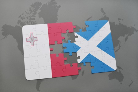 maltese map: puzzle with the national flag of malta and scotland on a world map background. 3D illustration Stock Photo