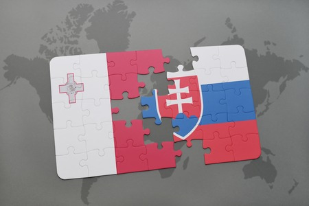 maltese map: puzzle with the national flag of malta and slovakia on a world map background. 3D illustration