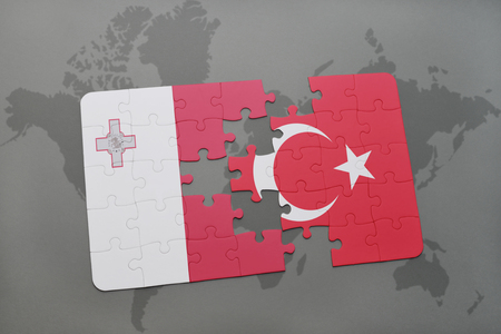 maltese map: puzzle with the national flag of malta and turkey on a world map background. 3D illustration