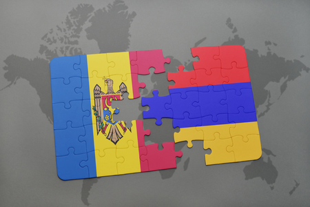 yerevan: puzzle with the national flag of moldova and armenia on a world map background. 3D illustration