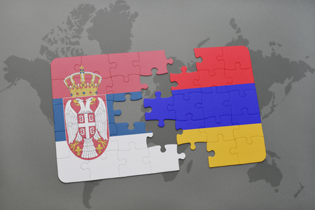 yerevan: puzzle with the national flag of serbia and armenia on a world map background. 3D illustration