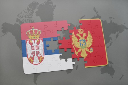 serbia and montenegro: puzzle with the national flag of serbia and montenegro on a world map background. 3D illustration