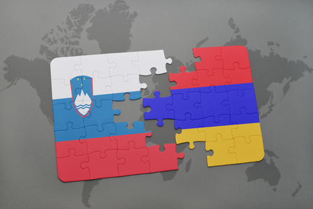 yerevan: puzzle with the national flag of slovenia and armenia on a world map background. 3D illustration