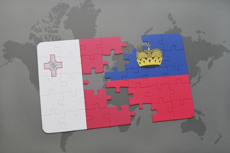 puzzle with the national flag of malta and liechtenstein on a world map background. 3D illustration