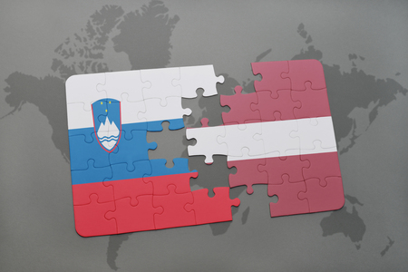 slovenian: puzzle with the national flag of slovenia and latvia on a world map background. 3D illustration