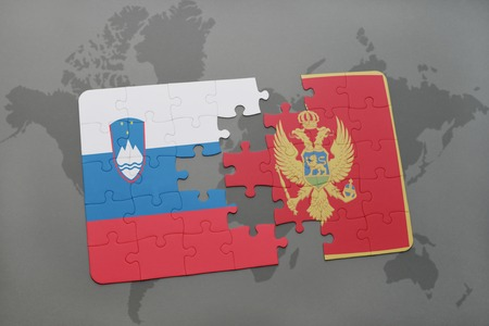 slovenian: puzzle with the national flag of slovenia and montenegro on a world map background. 3D illustration