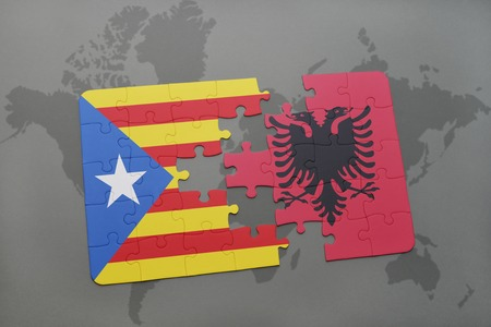catalonia: puzzle with the national flag of catalonia and albania on a world map background. 3D illustration