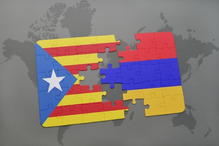 yerevan: puzzle with the national flag of catalonia and armenia on a world map background. 3D illustration