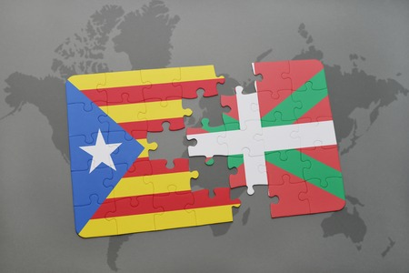 Puzzle With The National Flag Of Catalonia And Basque Country - Basque centers us map