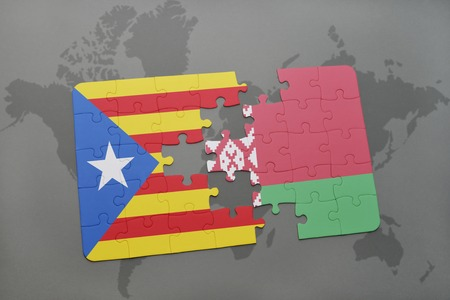 belorussian: puzzle with the national flag of catalonia and belarus on a world map background. 3D illustration Stock Photo