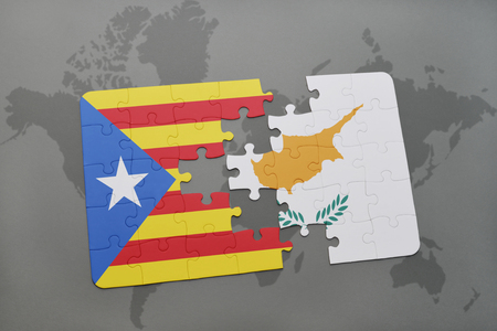 catalonia: puzzle with the national flag of catalonia and cyprus on a world map background. 3D illustration Stock Photo