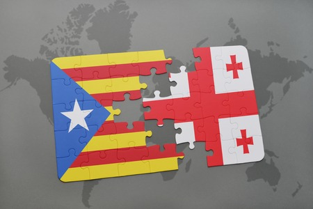 catalonia: puzzle with the national flag of catalonia and georgia on a world map background. 3D illustration