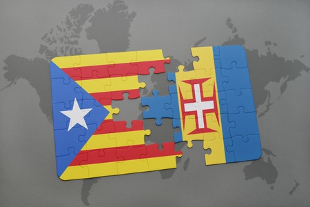 catalonia: puzzle with the national flag of catalonia and madeira on a world map background. 3D illustration
