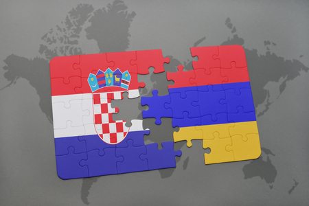 yerevan: puzzle with the national flag of croatia and armenia on a world map background. 3D illustration
