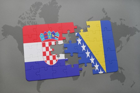 bosnian: puzzle with the national flag of croatia and bosnia and herzegovina on a world map background. 3D illustration