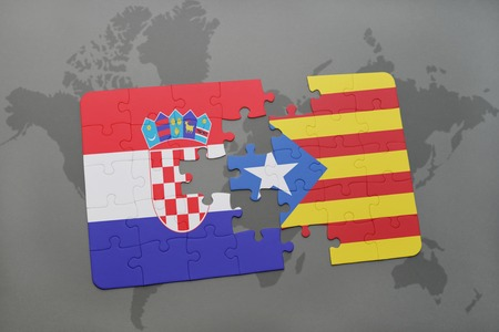 catalonia: puzzle with the national flag of croatia and catalonia on a world map background. 3D illustration