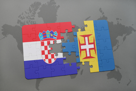 madeira: puzzle with the national flag of croatia and madeira on a world map background. 3D illustration