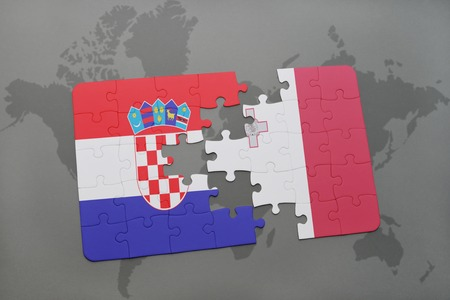 puzzle with the national flag of croatia and malta on a world map background. 3D illustration