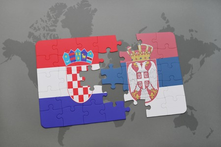 Puzzle with the national flag of croatia and serbia on a world illustration puzzle with the national flag of croatia and serbia on a world map background 3d illustration gumiabroncs Choice Image