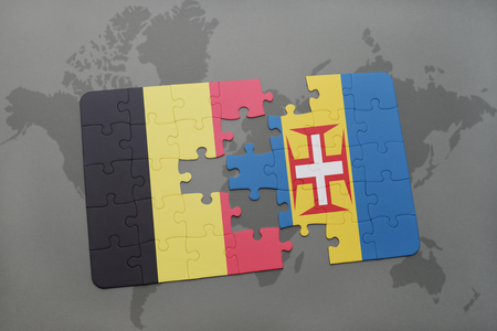madeira: puzzle with the national flag of belgium and madeira on a world map background. 3D illustration