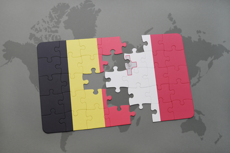 maltese map: puzzle with the national flag of belgium and malta on a world map background. 3D illustration