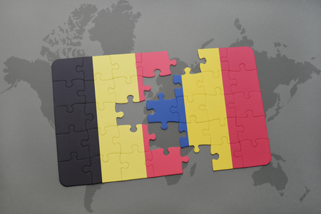 puzzle with the national flag of belgium and romania on a world map background. 3D illustration