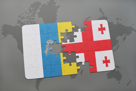 Puzzle With The National Flag Of Canary Islands And Georgia On ...