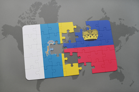 canary: puzzle with the national flag of canary islands and liechtenstein on a world map background. 3D illustration