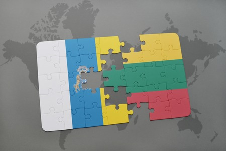 canary: puzzle with the national flag of canary islands and lithuania on a world map background. 3D illustration Stock Photo