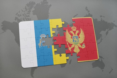 gran: puzzle with the national flag of canary islands and montenegro on a world map background. 3D illustration