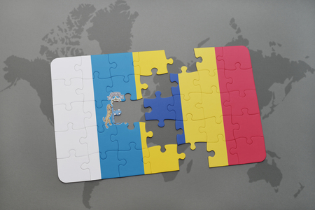 canary: puzzle with the national flag of canary islands and romania on a world map background. 3D illustration