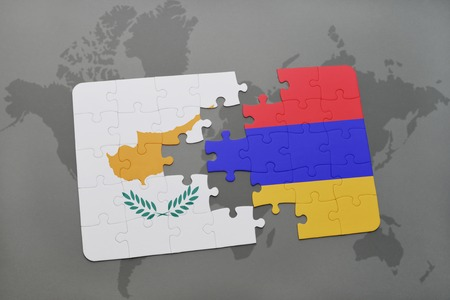 yerevan: puzzle with the national flag of cyprus and armenia on a world map background. 3D illustration