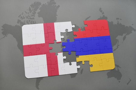 map of armenia: puzzle with the national flag of england and armenia on a world map background. 3D illustration Stock Photo