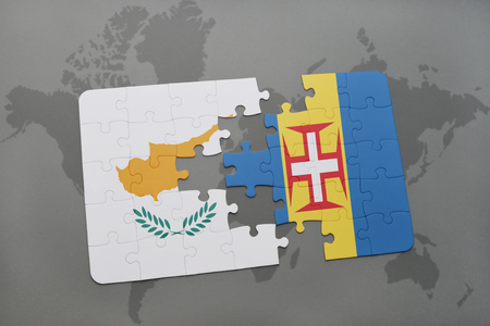 madeira: puzzle with the national flag of cyprus and madeira on a world map background. 3D illustration