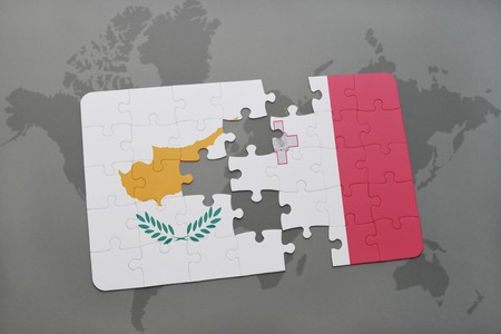 maltese map: puzzle with the national flag of cyprus and malta on a world map background. 3D illustration Stock Photo