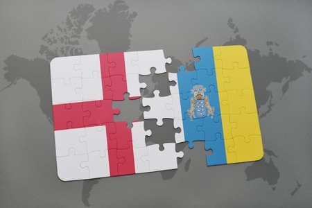 canary: puzzle with the national flag of england and canary islands on a world map background. 3D illustration