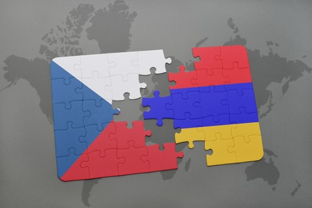 yerevan: puzzle with the national flag of czech republic and armenia on a world map background. 3D illustration