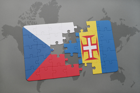 madeira: puzzle with the national flag of czech republic and madeira on a world map background. 3D illustration