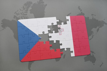 puzzle with the national flag of czech republic and malta on a world map background. 3D illustration
