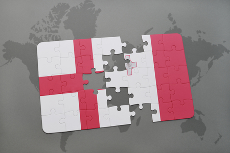 malta map: puzzle with the national flag of england and malta on a world map background. 3D illustration Stock Photo